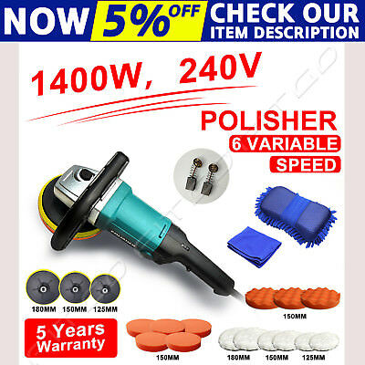 Polisher Car Buffer 180mm Sander Electric Tools Kit 6 Variable Speed 1400W 240V