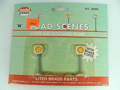 Model Power Lighted Shell Gas Station Signs N Scale #8580 Train Layouts Scenes