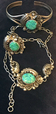 Navajo Set Water Webbed Turquoise Exquisite Silver Work Necklace, Bracelet, Ring