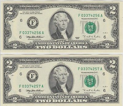1995 $2 Two Dollars Us Federal Reserve Notes X2 Uncirculated & Consecutive 256/7
