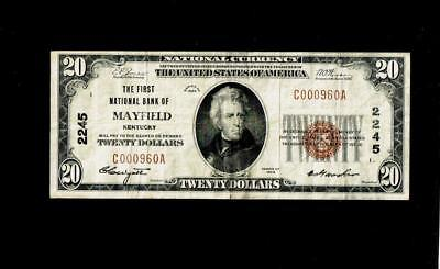 1929 $20 First National Bank of Mayfield Kentucky KY Currency Banknote #2245