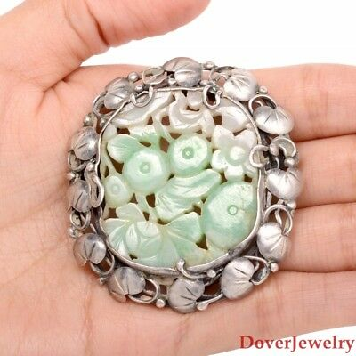Vintage Carved Jade Silver Large Floral Pin Brooch Pendant 29.9 Grams NR