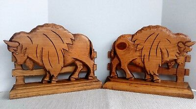Vintage Hand Carved Wood Buffalo Bison Figurine Book Ends