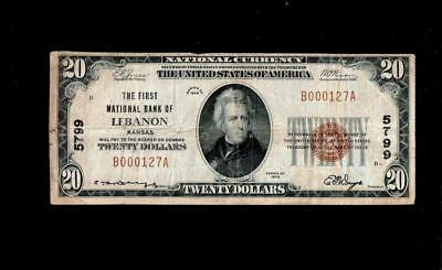Lebanon, KS - $20 1929 Ty. 1 The First NB Ch. # 5799