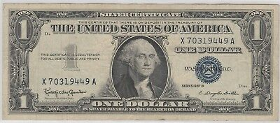 1957 B  $1 One Dollar Us Silver Certificate Blue Seal Note Circulated 449A