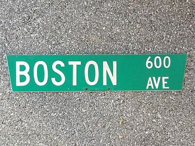 street name BOSTON AVE Massachusetts highway route road traffic sign USED REAL