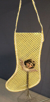 Antique Yellow mesh / netting Christmas Stocking with scrap and tinsel