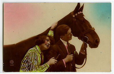 1920s French Deco COUPLE w/ HORSE tinted photo postcard