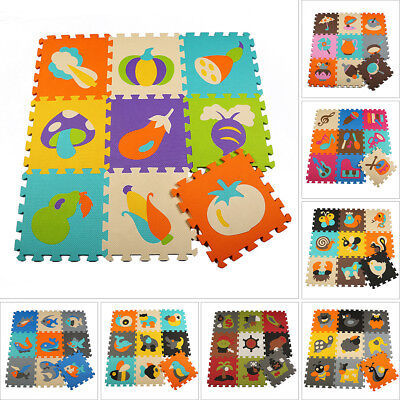 9PCS EVA Foam Cartoon Puzzle Mat Children Jigsaw Crawling Carpets Baby Playmats