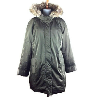 Old Navy Sz L Maternity Winter Coat Shiny Olive/Army Green Fur Lined Hood #CL