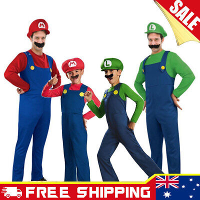 Super Mario Mens Boy Kids Adult Luigi Brothers Costumes Hat Fancy Party