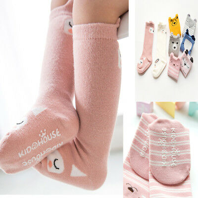 Cute Cartoon Cotton Baby Kids Girls Toddlers Knee High Socks Tights Leg Age 0-4