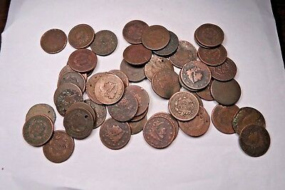 (50) Mixed 1800's Large Cent Lot // 50 Coins // (LCL12)