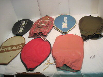 7 Old Vintage Tennis Racquet Covers