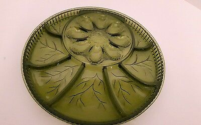 Vintage Green Indiana Glass Deviled Divided Pickles Egg Platter