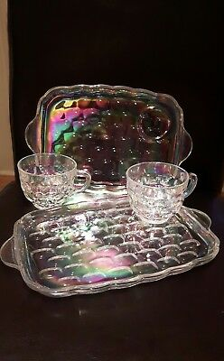 Vintage federal glass snack sets rare yorkton thumbprint  iridescent clear glass