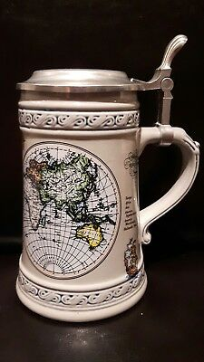 German lidded beer stein made in Germany stamped 95 ZINN PEWTER DOMEX WORLD MAP