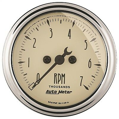 "AutoMeter 1897 Antique Beige Electric Tach. 2 1/16"" 7000 RPM"