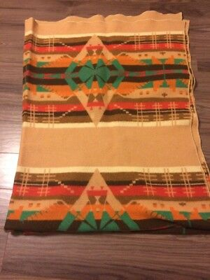 VINTAGE OREGON CITY INDIAN TRADE CAMP BLANKET 56 X 70 20s 30s MULTI COLOR WOOL