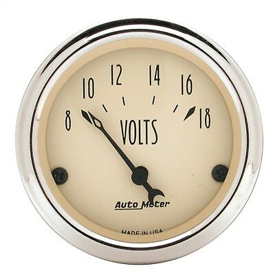 "AutoMeter 1891 Antique Beige Voltmeter Gauge 2 1/16"" 8-18 Volts"