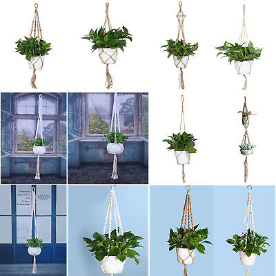 Vintage Knotted Macrame Plant Hanger Basket Flowerpot Holder Lifting Rope Decor