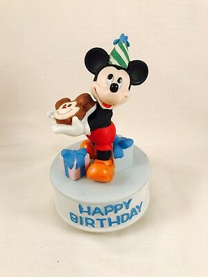Mickey Mouse Schmid Figurine Happy Birthday Music Box Bisque Porcelain Ceramic