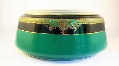 Vintage Noritake Japanese dish / bowl in green and black with gilding - unusual