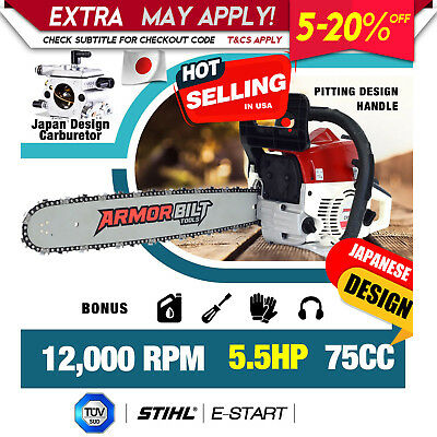 """75cc Chain saw Petrol Commercial 20"""" Chainsaw Bar E-Start Tree Pruning japan"""