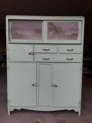 Vintage 1930's Timber Kitchen Hutch/Pantry With Glass Sliding Doors