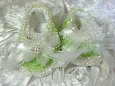 Baby Or Reborn Doll Crib Shoes Victorian Light Green Organza Roses  Size 0