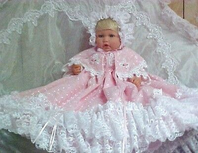 Pink Embroidered  Batiste Gown Reborn Baby Capelet,bonnet Shoes Victorian