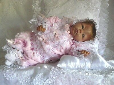 VICTORIAN PINK MINKY DOT ROMPER FOR REBORN DOLL OR BABY  3 PC  size 0-3 mth