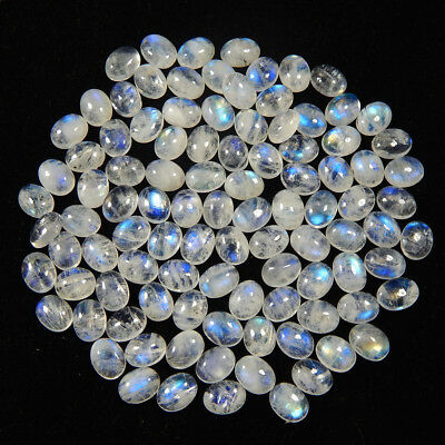 169.40 Cts Natural Rarest Rainbow Moonstone 7X9 Mm Oval Loose Cabochon Gemstone