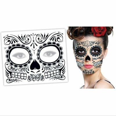 Halloween Day of the Dead Face Stickers Makeup Mask Waterproof Make Up Tattoo