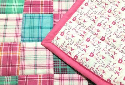HANDMADE PINK/ TURQUOISE 34X42in BABY/TODDLER FLANNEL QUILTED BLANKET GIFT IDEA