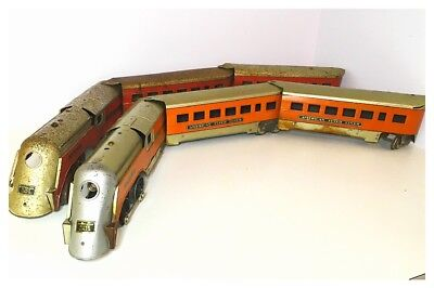 2x Minnehaha American Flyer Prewar O Gauge Locomotives And Carriages