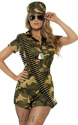Halloween Camo Fancy Dress Party Costume Outfit  Adult Womens Sexy Army