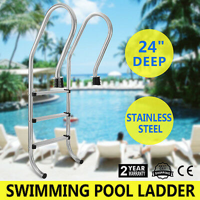 New Stainless Steel Swimming Pool Ladder In Above Ground 3 Step Non-skid 155cm