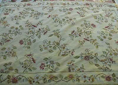 Stark Needlepoint 6.0 x 9.0 FLOWER SPRIG w/t BORDER ON LIGHT YELLOW MSRP$4000+