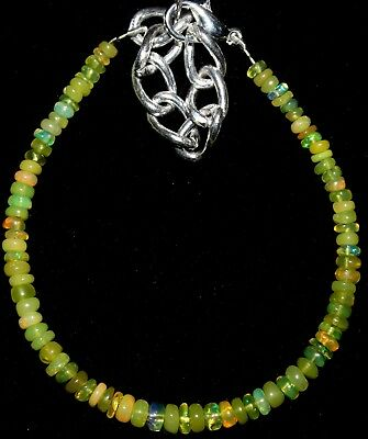 19 Crt 3 mm to 4 mm  5.3 Natural Ethiopian Yellow Opal  Beads Bracelet 0101
