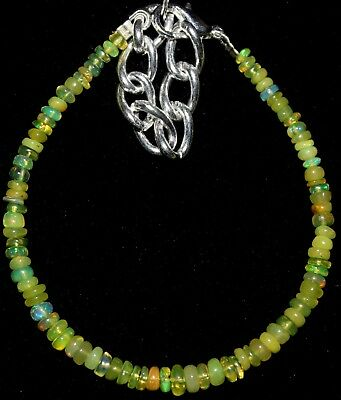 20 Crt 3 mm to 4.5 mm  5.4 Natural Ethiopian Yellow Opal  Beads Bracelet 0104