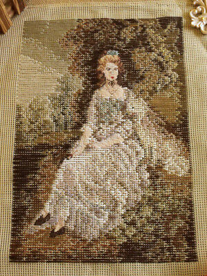 "14""X12"" Antique TRAMME Tapestry Needlepoint Canvas - A Lady Portrait"