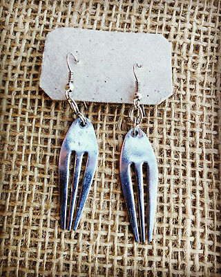 Recycled Cutlery Earrings  - Silver Forks Handmade in Cambodia Eco Jewellery