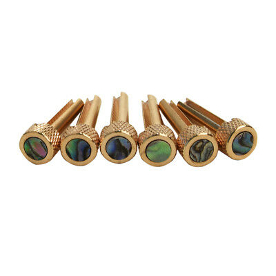 6pcs Solid Brass Bridge Pins Abalone Dot Inlay for Acoustic Guitar Accessory