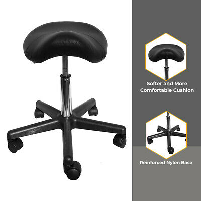 Black Saddle Massage Stool Ergonomic Comfortable Rolling Adjustable Salon Swivel