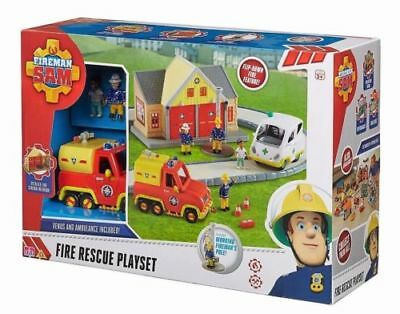 Fireman Sam Rescue Playset with 2 vehicles & 4 figures - Brand New