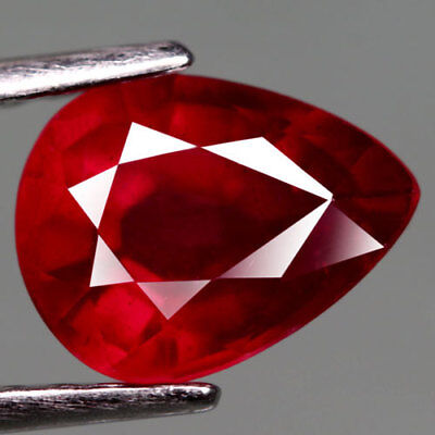2.09Ct.captivating! Pear Facet Top Blood Red Natural Ruby Madagascar