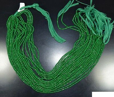 """2 Mm  13 """"  Natural  Aaa  10  Line  Green Onyx  Treated  Beads  Strand"""