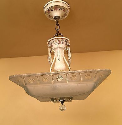 Vintage Lighting rare and gorgeous 1930s chandelier by Porcelier