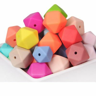 10Pcs Hexagon Silicone Beads Teething Chew Necklace Baby Teether Making New